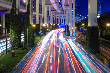 light trails under the elevated road