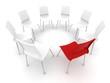 Roter Stuhl mit weissen Stühlen