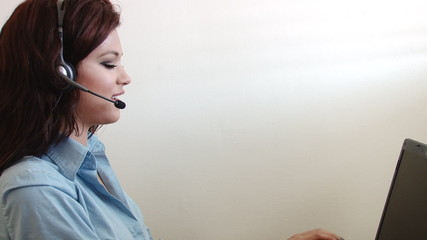Young business woman working customer service