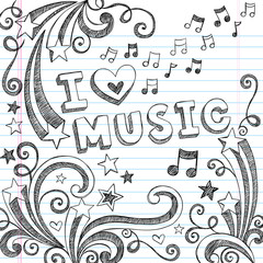 I Love Music Sketchy Back to School Doodles Vector