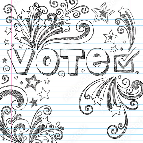 Vote Presidential Election Sketchy Doodles Vector