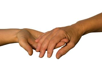 Eine Hand stützt sich auf eine andere