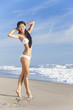 Chinese Asian Young Woman Girl in Bikini on Beach