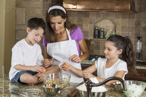Mother Son Daughter Family Baking In A Kitchen