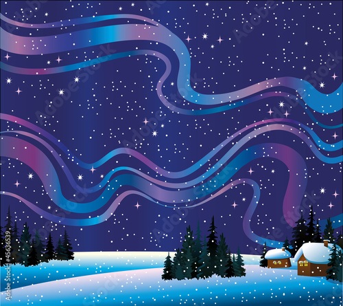 Winter nature with northern lights and houses