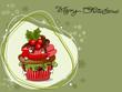 Weihnachtskarte mit Muffin, Cupcakes