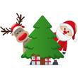 santa and reindeer behind christmas tree