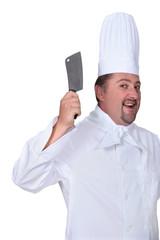 Crazy butcher on white background
