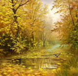 Fototapety beautiful autumn landscape, canvas, oil
