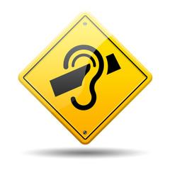 Señal amarilla simbolo sordera