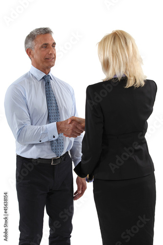 Senior business partners shaking hands