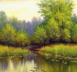Fototapety beautiful summer landscape, canvas, oil