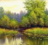 Fototapety beautiful summer landscape, canvas, oil