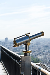 A binocular on The Eiffel Tower.