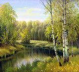 Fototapety autumn landscape, canvas, oil