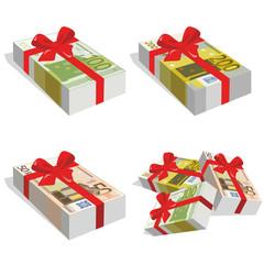 Fajo de billetes de 50, 100 y 200  euros con lazo