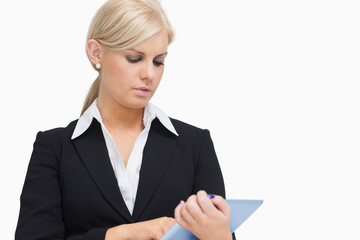Businesswoman holding a tablet computer