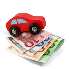 Rotes Holzauto auf Euroscheinen 01