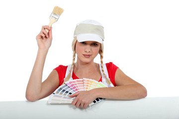 Painter with color chart