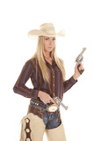 cowgirl two guns chaps poster