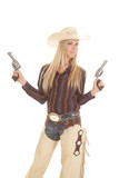cowgirl two guns up chaps poster