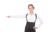 businesswoman pointing at empty copyspace