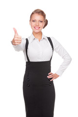 businesswoman showing thumbs up and smiling
