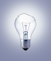 Light bulb broken on gray