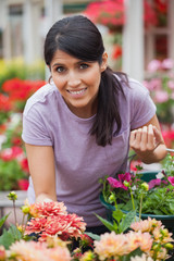 Cheerful woman shopping for flowers