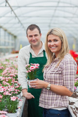 Woman choosing a flower in greenhouse with employee