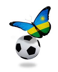 Concept - butterfly with Rwanda flag flying near the ball, like