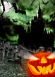 Spooky halloween pumpkin with castle silhouette on background