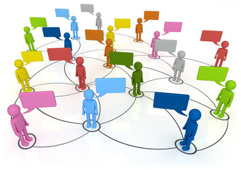 Social Network Connections - characters chatting in linked web