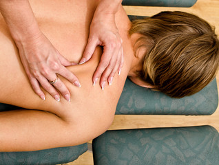 Close up view of female hands doing massage