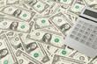 Amerikanische Dollar Banknoten mit Taschenrechner