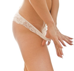 Slim female body isolated on white