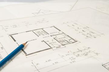 Bauplan eines Einfamilienhauses