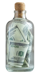 bottle filled with dollars and capped