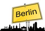 Fototapety Ortsschild Skyline Berlin