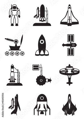 Astronaut, space shuttle and spaceship