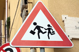 Beware of children sign poster