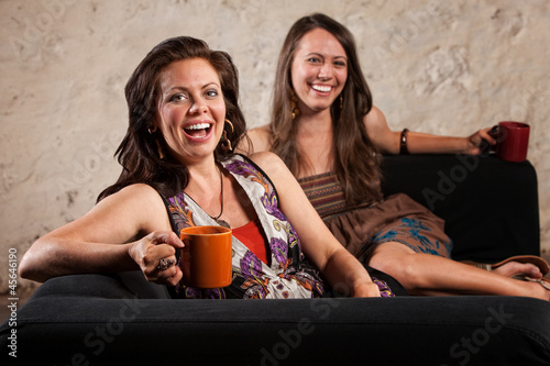 Pair of Laughing Women with Cups