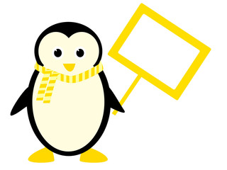 cute penguin holding a sign with place for text