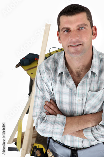 Carpenter with a workbench