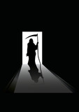 vector illustration of Grim reaper silhouette standing in a door