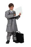 Boy dressed as a businessman