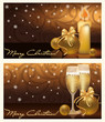 Two golden xmas banners, vector illustration