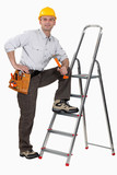 Worker with a stepladder