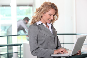 Businesswoman using a laptop computer in an office