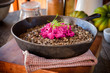 Lentils and rice dish with beet salad